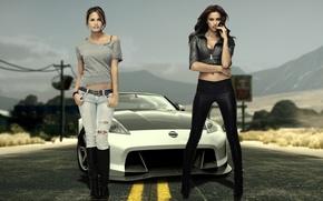 Картинка горы, девушки, пустыня, трасса, Nissan, irina sheik, модели, красотки, крисси тейген, ирина шейк, EA e …