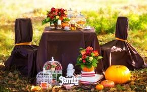 Картинка осень, листья, цветы, кофе, розы, свечи, пикник, травы