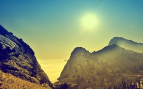 Картинка море, утро, солнце, горы, рассвет, крым