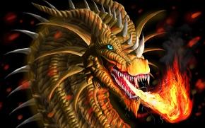 Картинка взгляд, огонь, арт, пасть, огнедышащий дракон