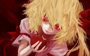 Картинка яблоко, укус, красные глаза, безумие, Touhou, вампирша, Remilia Scarlet, адская ухмылка