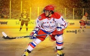 Обои лед, форма, клюшка, хоккей, коньки, Александр Овечкин, NHL, НХЛ, Washington Capitals, hockey, Alexander Ovechkin