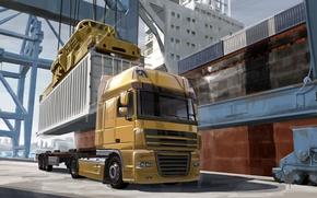 Картинка арт, день, порт, фургон, автомобиль, живопись, трейлер, тягач, грузовой, фура, груза, доставка, euro truck, виде., …