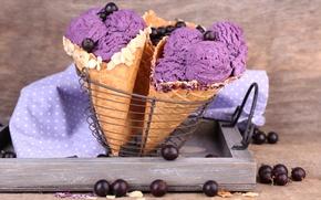 Картинка ягоды, мороженое, рожок, десерт, смородина, вафля, sweet, dessert, berries, ice cream