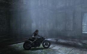 Обои мотоцикл, скриншот, Tomb Raider, Девушка