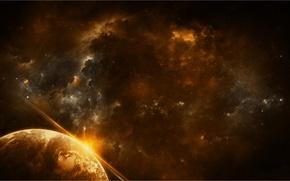 Картинка космос, звезды, туманность, вселенная, планета