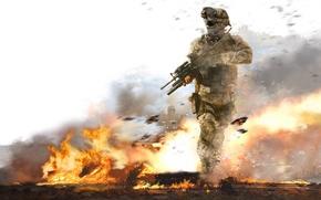 Картинка огонь, война, Солдат
