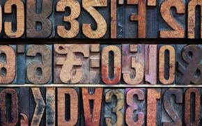 Картинка буквы, знаки, цифры, текстуры, деревянные, Алфавит