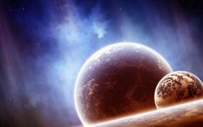 Картинка космос, звезды, туманность, планеты, спутник