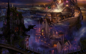 Картинка дорога, огни, замок, дракон, силуэт, арт, дворец, ucchiey, kazamasa uchio