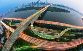 Картинка свет, город, выдержка, мосты, Корея, Сеул, 서강대교 야경