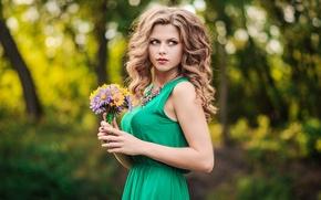 Картинка девушка, нежность, красота, букетик