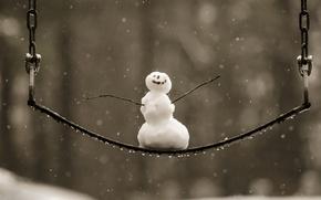Картинка зима, качели, снеговик