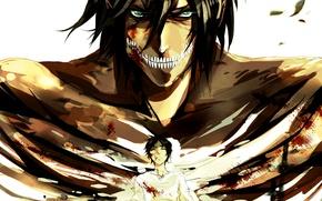 Картинка аниме, арт, Art, anime, shingeki no kyojin, eren jaeger, attack of the giants, вторжение титанов, …