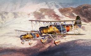 """Картинка небо, рисунок, арт, бомбардировщики, японские, WW2, палубные, пикирующие, Aichi D1A2 (""""тип 96"""")"""