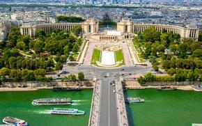 Картинка мост, река, Франция, Париж, площадь, Paris, river, bridge, France, Trocadero, Трокадеро