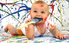 Картинка краски, ребенок, мужчины