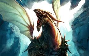 Картинка скалы, дракон, крылья, арт, пасть, броня