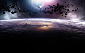 Обои планета, астероиды
