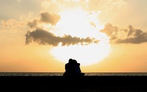 Картинка море, небо, вода, девушка, облака, любовь, река, фон, обои, настроения, женщина, чувства, пара, wallpaper, мужчина, …