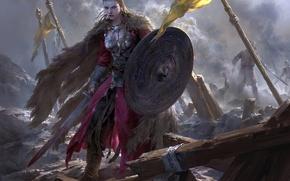 Картинка меч, битва, сражение, плащ, воительница
