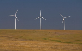 Обои поле, сумрак, ветряк