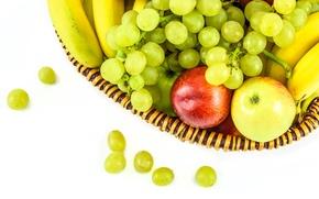 Картинка корзина, яблоки, виноград, фрукты, банан