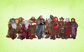 Обои Властелин колец, Хоббит Нежданное путешествие, The Lord of the Rings, светлый фон, гномы, The Hobbit ...