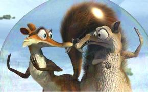 Картинка мультфильм, белка, ледниковый период, Ice Age, пузырь