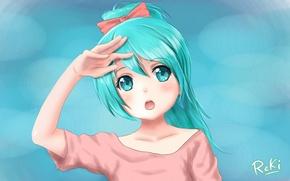 Картинка девушка, фон, рука, арт, vocaloid, hatsune miku, бантик, хвостик, reki, lichk