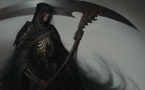 Картинка смерть, фантастика, арт, скелет, коса