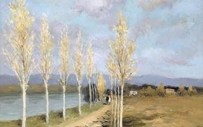 Картинка деревья, пейзаж, горы, картина, Марсель Диф, На берегу канала