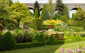 Обои цветы, сад, деревья, кусты, Kilver Court Gardens, Великобритания, лавочки, трава, дизайн