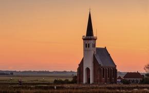 Картинка деревня, вечер, поле, церковь, пастбище, закат