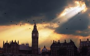 Обои закат, Лондон, Биг Бен, sunset, London, Big Ben