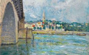 Картинка небо, облака, мост, город, река, картина, Alfred Sisley