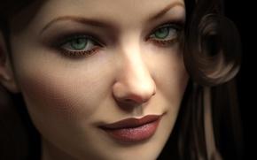 Картинка взгляд, девушка, лицо, рендеринг, сетка, зеленые глаза