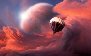 Картинка небо, облака, планета, Воздушный шар