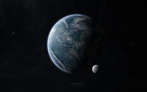 Картинка звезды, планета, спутники, бесконечность, hidron