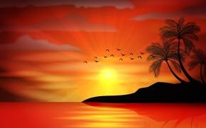 Обои vector, sunset, sea, paradise, tropical, island, palms, море