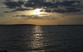 Картинка небо, вода, солнце, закат, тучи