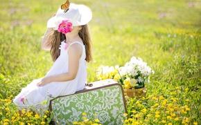 Картинка поле, лето, цветы, природа, коллаж, бабочка, шляпа, девочка, чемодан, ребёнок, сарафан