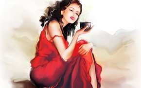 Картинка девушка, кофе, кружка, сидит, красное платье, Tatiana Nikitina