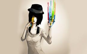 Картинка краски, Девушка, шляпа
