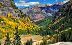 Картинка осень, лес, небо, облака, деревья, горы, склон