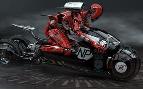Картинка робот, мотоцикл, гонщик, Luigi Memola