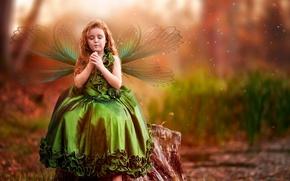 Картинка одуванчик, крылья, платье, девочка