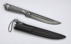 Картинка металл, нож, цепочка, ножны, инкрустация