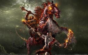 Обои битва, конь, цепь, всадник, God of war 2