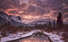 Картинка зима, небо, облака, снег, деревья, горы, река, вечер